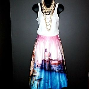 Beautiful Print Skirt, Venice City Scape, no size